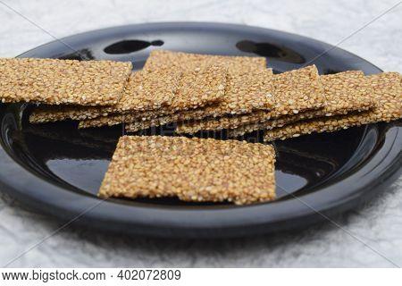 Selective Focus Closeup Of Til Sakri Or Tilgul An Indian Traditional Popular Sweet Made Out Of Sesam