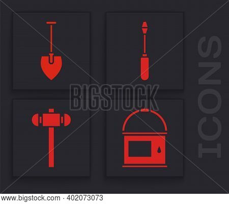Set Paint Bucket, Shovel, Screwdriver And Sledgehammer Icon. Vector