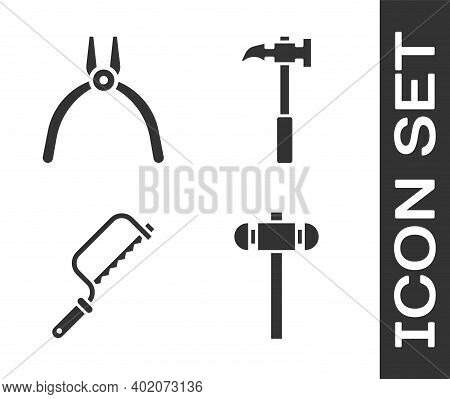 Set Sledgehammer, Pliers Tool, Hacksaw And Claw Hammer Icon. Vector