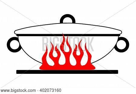 Cartoon Wok Pan With A Lid On A Red Gas Stove. Vector Image Of A Kitchen Wok On Fire. Vector Illustr