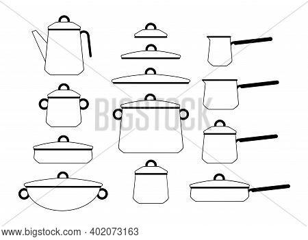 Set Of Cartoon Cookware Pan Lids. Vector Illustration