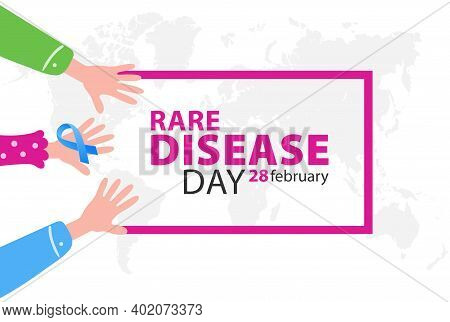 Poster For Rare Disease Awareness Day With Hands And Symbol Ribbon, Illustration.