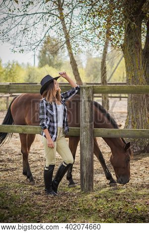Horse Farm Concept, Hobby -  Rider. Woman Talk With A Horse, Eco Tourism