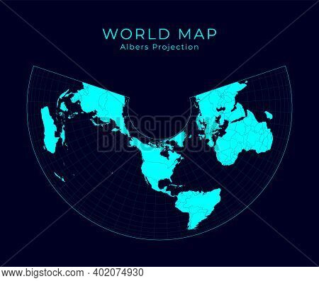 Map Of The World. Albers Equal-area Conic Projection. Futuristic Infographic World Illustration. Bri