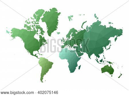 World Map. Bold Low Poly Style Continents. Vector Illustration.