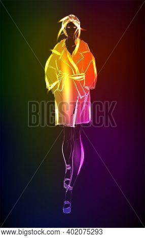 Hand-drawn Fashion Model From A Neon. A Light Girl's. Fashion Girl. Stylish Fashion Model. Fashion W