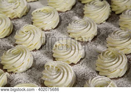 A Traditional Russian Dessert Called Zefir Marshmallow Made From Applesauce With The Addition Of Aga