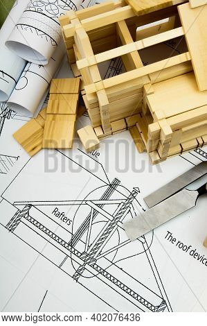 Construction House. Repair Work. Joiners Works. Drawings For Building, Working Tools And Small Woode