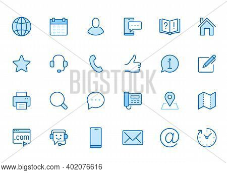 Contact Us Line Icon Set. Feedback, Customer Service, Phone, Email Address, Web Site Minimal Vector