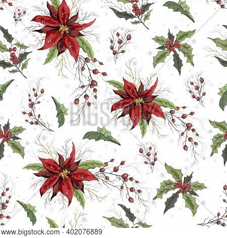 Seamless Vector Pattern  With A Pattern Of Holly Branches, Poinsettia, Water Drops. The Hand-drawn S