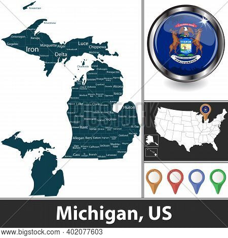 Michigan State With Counties And Location On American Map. Vector Image