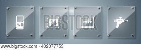 Set Ray Gun, Pendulum, Postal Stamp And Tetris. Square Glass Panels. Vector