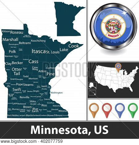 Minnesota State With Counties And Location On American Map. Vector Image