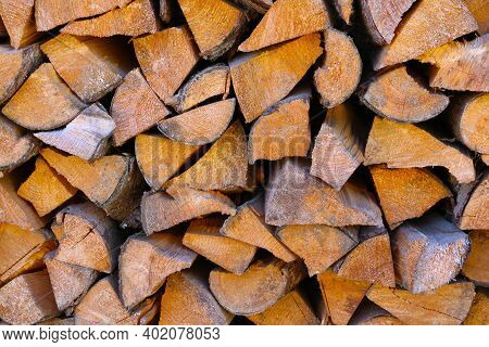 Chopped Wood Is In A Stack For Kindling The Stove In Winter