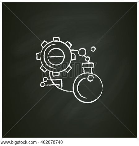 Experiment Chalk Icon. Glass Bulb With Gear And Information Link Sketch. Creative Idea Test, Scienti