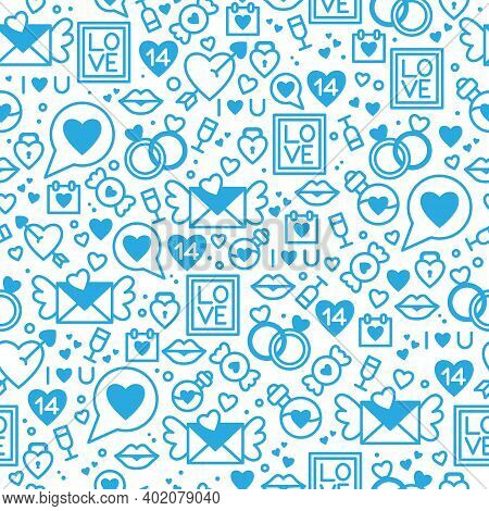 Seamless Vector Pattern For Valentine's Day. Valentine's Day Card. Vector Illustration Of Blue Icons