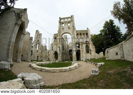 The Remains Of The Cloister In Jumiéges In Normandy In France.