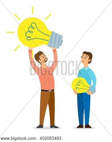 Idea Concept, Guy Having New Business Idea Or Plan Holding Lamp Bulb In Hands, Colleague Man With Li