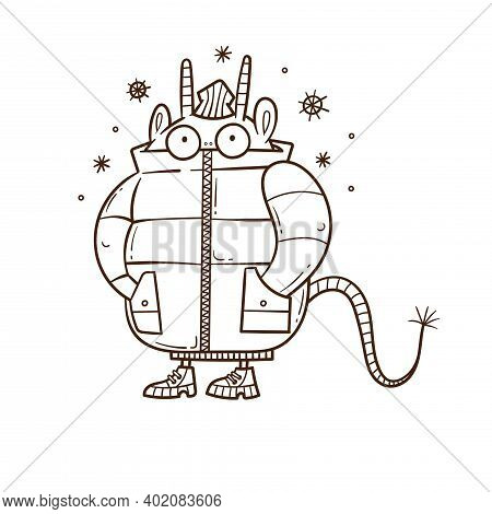 Winter Card With Cute Cartoon Monster In A Jacket. Funny Doodle Animal Print. Snowfall Poster. Illus