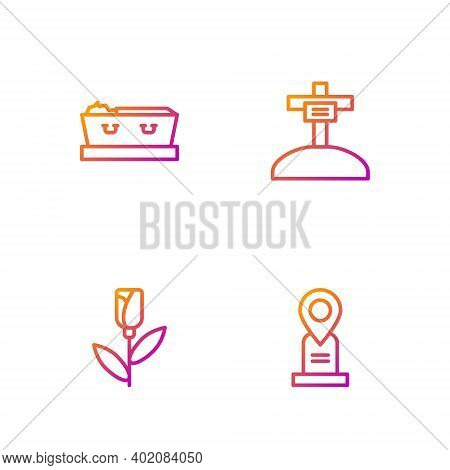 Set Line Location Grave, Flower Rose, Coffin With Dead And Grave Cross. Gradient Color Icons. Vector