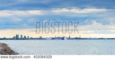 Panorama Of Tallinn With Sea View. Estonia