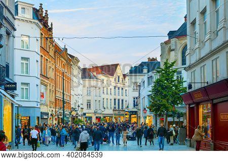 Brussels, Belgium - October 05, 2019: Crowd Of People Walking By Old Town Shopping Street Of Brussel