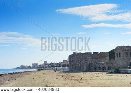 Larnaca, Cyprus - February 17, 2019: People Walking At The Resort Embankment Of Larnaca, Laranaca Ca