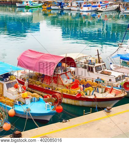 Typical Cyprus Fishing Boats In Limassol Harbor