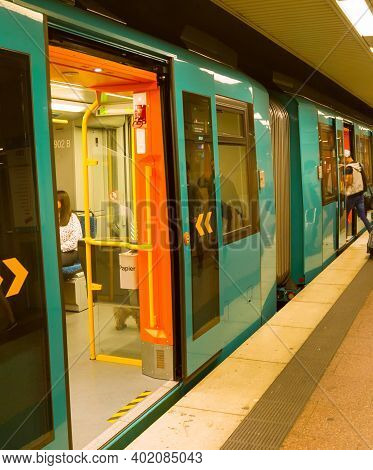 Frankfurt, Germany - August 31, 2018: People At Subway Platform, Frankfurt, Germany