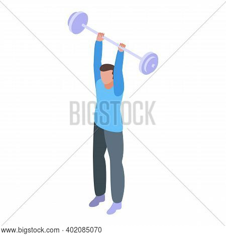 Barbell Effort Icon. Isometric Of Barbell Effort Vector Icon For Web Design Isolated On White Backgr