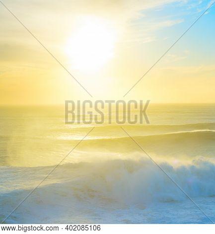 Beautiful Sunset Over Atlantic Ocean . Nazare, Portugal