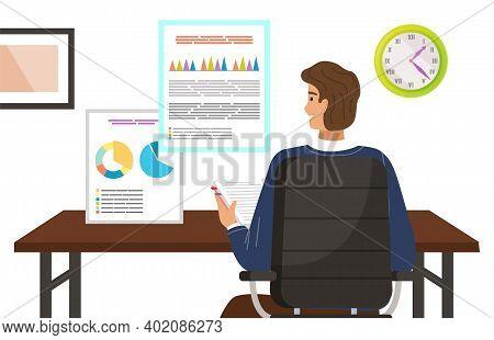 Project Management And Financial Report Concept. The Economist Analyzes Presentation Document. Consu