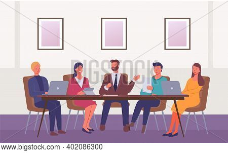 Business People At Meeting Table Discuss Strategy. Office Desk For Team Planning And Working. Confer