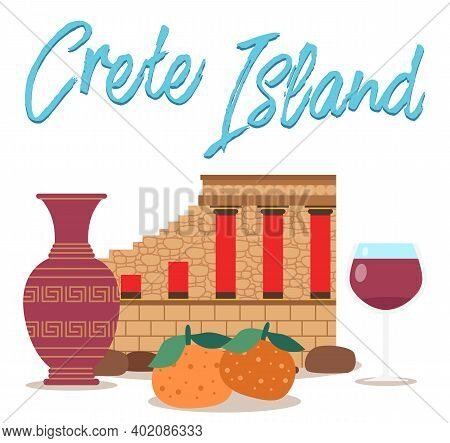 Traditional Symbols Of Greece Isolated On A White Background. Ancient Buildings, Pottery And Food. T