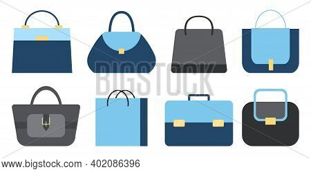 Isolated Collection Of Blue And Grey Fashionable Stylish Woman Bags. Set Of Handbag, Diplomat, Purse
