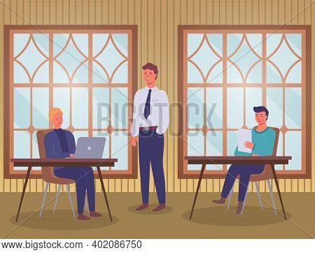People Working In Office Near Panoramic Windows Sitting At Tables. Colleagues, Designers Or Co-worke