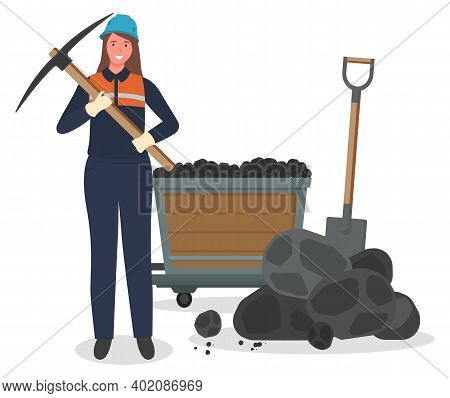 Coal Mining, Woman Miner With Pickaxe, Hard Work, Worker In Protective Helmet, Suit, Pieces Of Coal