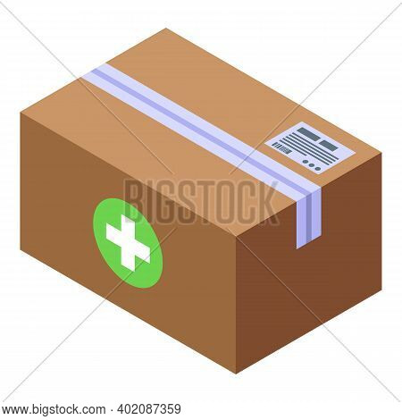 Drug Delivery Parcel Icon. Isometric Of Drug Delivery Parcel Vector Icon For Web Design Isolated On
