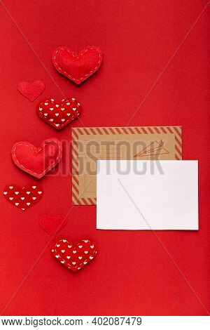 Valentines Day Envelope Mail, Bank White Card On Red Background, Template Mock Up