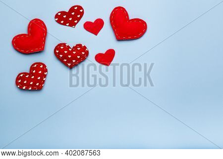 Blue Background With Red Hearts, Love Concept, Copy Space, Above