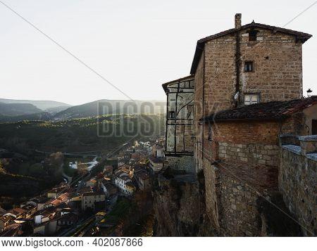 Panoramic Sunset View Of Casas Colgadas In Historical Village Town Frias Las Merindades Burgos Casti