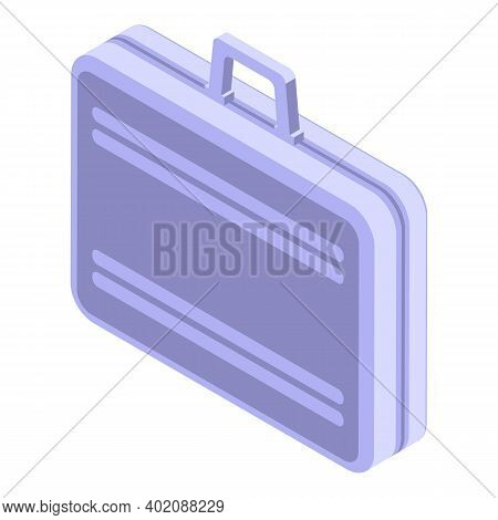 Leather Briefcase Icon. Isometric Of Leather Briefcase Vector Icon For Web Design Isolated On White