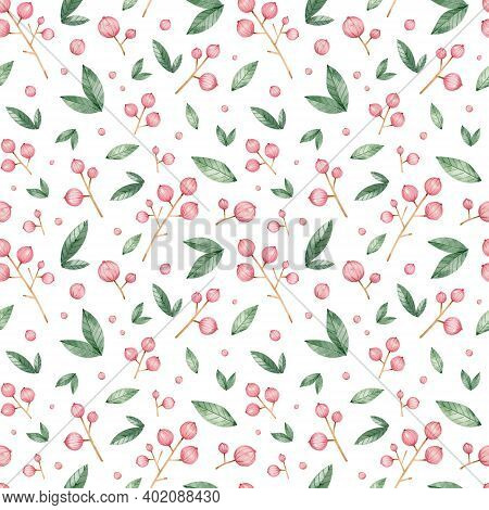 Watercolor Seamless Red Currant Pattern. Bright Branches Of Red Currant On The White Background. Dec