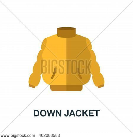 Down Jacket Flat Icon. Color Simple Element From Clothes Collection. Creative Down Jacket Icon For W