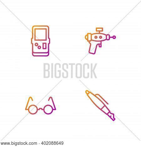 Set Line Fountain Pen Nib, Eyeglasses, Tetris And Ray Gun. Gradient Color Icons. Vector