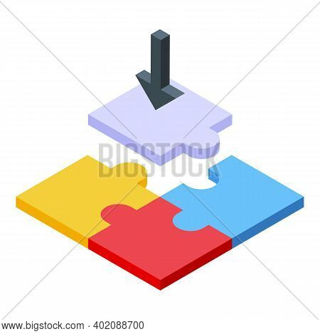 Puzzle Opportunity Icon. Isometric Of Puzzle Opportunity Vector Icon For Web Design Isolated On Whit