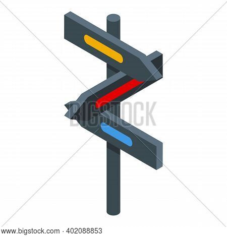 Opportunity Direction Pillar Icon. Isometric Of Opportunity Direction Pillar Vector Icon For Web Des