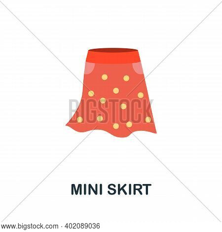 Mini Skirt Flat Icon. Color Simple Element From Clothes Collection. Creative Mini Skirt Icon For Web