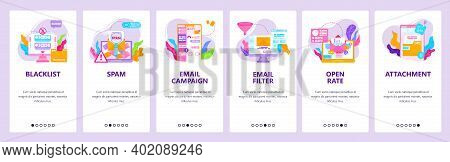 Email Campaign, Email Blacklist And Filter, Spam Check. Mobile App Screens, Vector Website Banner Te
