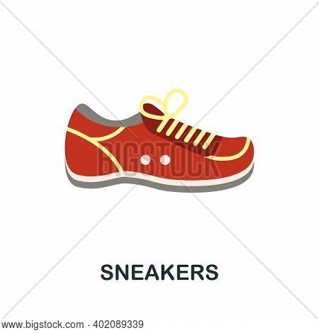 Sneakers Flat Icon. Color Simple Element From Clothes Collection. Creative Sneakers Icon For Web Des